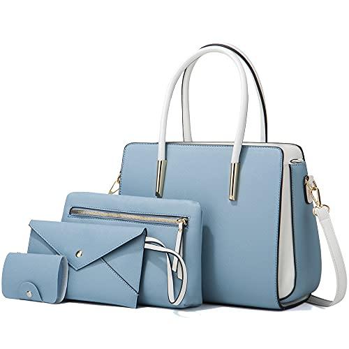 LUOWAN Bolsos de Mujer Bolso Bandolera Tote Bolso Señora Tote Grande De Hombro Bolsos PU Cuero Bolsos de mano 4pcs Set (Azul claro)