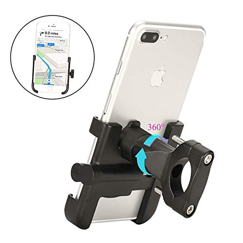 Spritech Bike Phone Mount, Bike Motorcycle Phone Holder Alloy Handlebar Rack Fits iPhone X XR 8 7 6   Plus, Galaxy S10 S8 S7   Plus, All 2.4'-3.9' Wide Electronic Device for Cycling GPS/Map/Time/Music