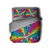 Luoiaax Abstract - Juego de 3 fundas de edredón y 2 fundas de almohada, diseño abstracto de arcoíris y estrellas, rayas confeti, diseño de rayas, diseño de Happy Times (2 camas), multicolor