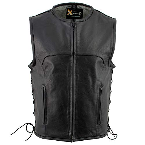 Xelement B95140 Men's 'Drifter' Black Advanced Collarless Leather Motorcycle Vest - X-Large