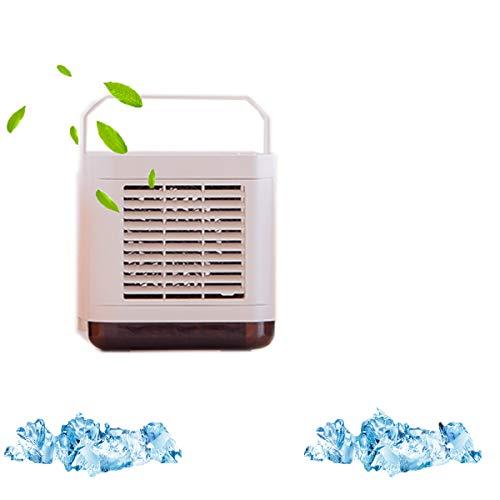 LLC Ventilador Personal de Aire Acondicionado portátil, refrigerador de Aire Ultra tranquilode 3 en 1 de 3 velocidades,con luz Nocturna, Spray humidificante,Adecuado para Dormitorio,Blanco