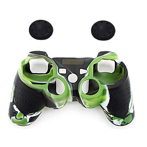 Mrotrida Funda de Silicona Suave de 1 Piezas+2 Piezas Tapas para los Dedos para Sony Playstation 3 PS3 Controlador (Verde)