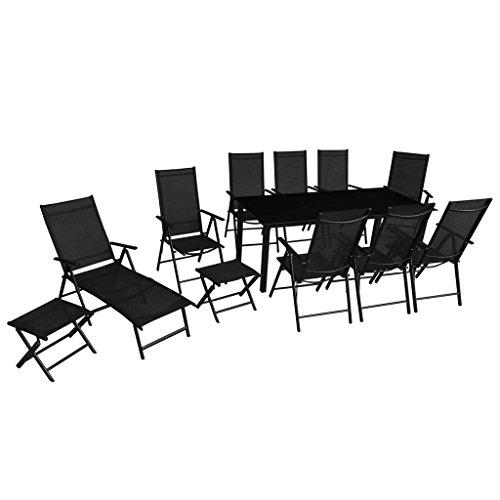 Disfruta Tus Compras con Set de Comedor de jardín 12 Piezas Aluminio Negro