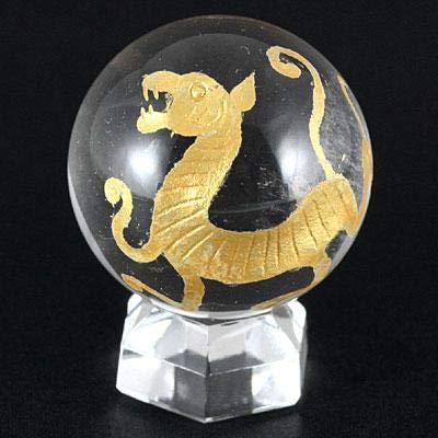 【石流通センター】【彫刻置物】丸玉 水晶20mm (金彫り) 白虎 天然石 パワーストーン