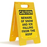 SmartSign'Caution - Beware of Snow and Ice Falling from The Roof' Folding Floor Sign | 25' x 12' Plastic