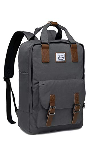 School Backpack for Men and Women,VASCHY Unisex Vintage Water Resistant Casual Daypack Rucksack Bookbag for College Fits 15inch Laptop Backpack Dark Gray