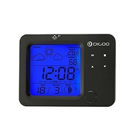 Digoo DG-C5 Draadloze blauwe backlit hygrometer thermometer weather forecast station touch sensor alarm klok door scoutBAR