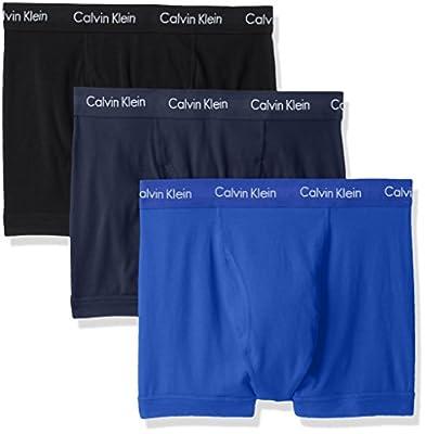 Calvin Klein Men's Cotton Stretch Multipack Trunks, Black/Blue Shadow/Cobalt Water, Medium from Calvin Klein