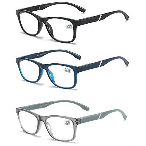 MMOWW Confezione da 3 Occhiali da Lettura, Occhiali Ultraleggeri con Cerniere a Molla (Nero + Blu + Grigio, +2.0)