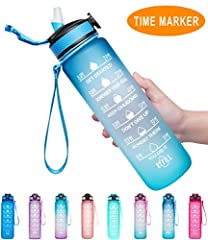 【MOTIVATIONAL QUOTE & TIME MARKER】- With unique inspirational quote and time markers on it,this water bottle is great for measuring your daily intake of water,reminding you stay hydrated and drink enough water throughout the day.A must have for any f...