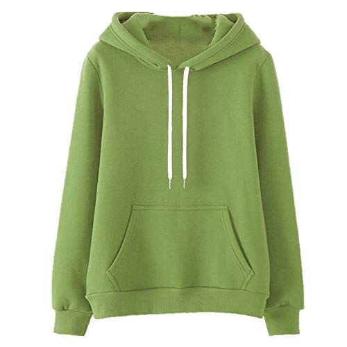 Spring and Autumn Women's Sweatshirt Loose Thin Hooded Jacket Green