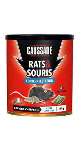 Caussade CARSC150 Rats & Souris - 6 sachets Céréales prêt à l'emploi - Grenier et Charpente   Forte Infestation