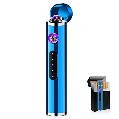 ASANMU Mini Mechero Electrico, USB Encendedor Electrico Pantalla Táctil Mechero Electric sin Llama, a Prueba de Fuego, a Prueba de Viento, con Indicador de Batería, Cable USB y Caja de Regalo (Azul)