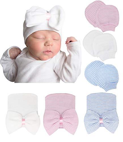 DRESHOW Neugeborene Baby Mütze Fäustlinge Krankenhaus Hut Beanie Säuglingshüte mit Schleife Baby Handschuhe for 0-3 Monate