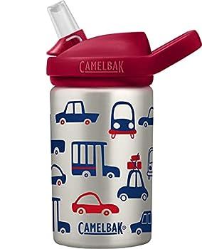 CamelBak Eddy+ Kids Water Bottle Stainless Steel with Straw Cap  14 oz Cars & Trucks - Spill-Proof when Open Leak-Proof when Closed