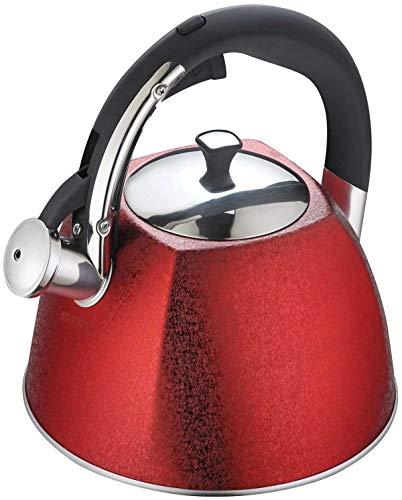 Klausberg WASSERKESSEL 3L MIT Pfeife KB-7338 Flötenkessel Wasserkocher rot
