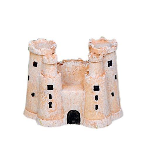 Outflower Château miniature classique noir et blanc - Décoration de jardin féérique - Mini pot de fleurs - Accessoire en résine pour décoration de jardin ou d'intérieur (jaune)