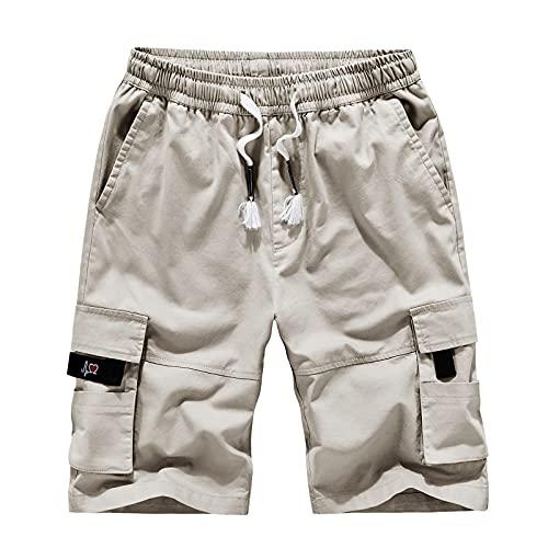 BIBOKAOKE Kurze Hosen Herren Cargo Shorts Sweatshorts Sommer Freizeit Kurze Hose Ripstop Shorts Cargohose Vintage Arbeitsshorts Bermuda Shorts Elastic Waist Sporthose mit vielen Taschen