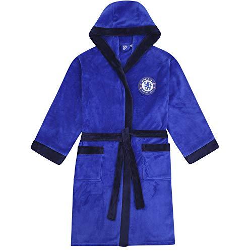 Chelsea FC - Herren Fleece-Bademantel mit Kapuze - offizielles Merchandise Fußballfans - Royalblau - XL