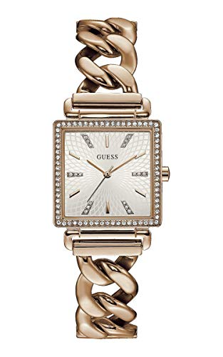 Guess Damen Analog Quarz Uhr mit Edelstahl Armband W1030L4