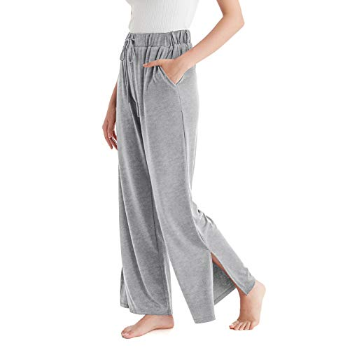 VULKIT Knit Pyjama Bottoms Women Wide Leg Trousers Soft Comfortable Lounge Wear Casual Elastic Sleeping Pants with Pockets Drawstring