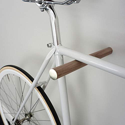 Designer Fahrrad Wandhalterung - BIKE HOOKS - versch. Sticks zu Auswahl, mit Metall- oder Farbfronten, aus Eiche oder Nussbaum, hochwertige Verarbeitung - Möbelstück zur Wandmontage des Fahrrads (Walnuss + Messingfront)