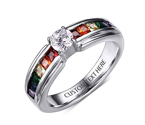 VNOX Personalized Stainless Steel Gay Pride Rainbow CZ Relationship Engagement Promise Rings Weeding Band for Lesbian,Size 9