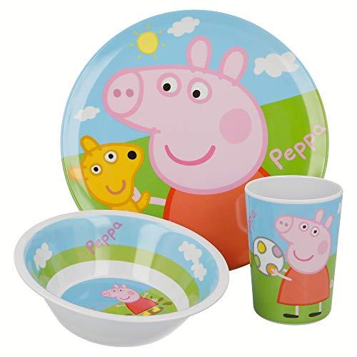 SET MELAMINA 3 PCS. (PLATO, CUENCO Y VASO) PEPPA PIG