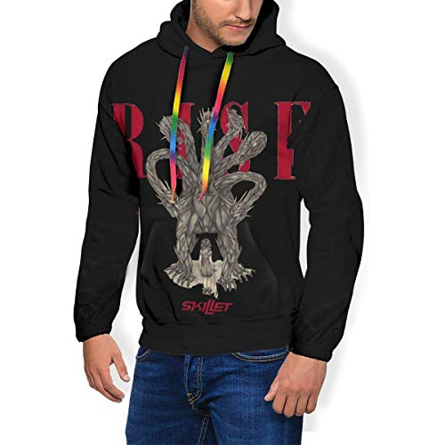 Gellya Hooded Sweatshirt Skillet Mans 3D Print Velvet Pullover Hooded Sweatshirt Hoodies Big Pockets