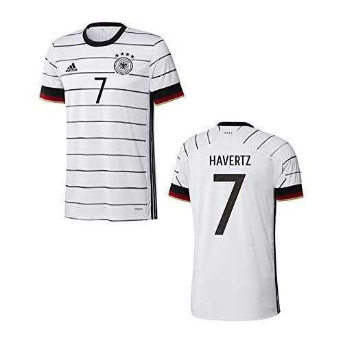adidas DFB Deutschland Trikot Home EM 2020 Kinder inkl. Original Flock (Havertz + 7, 152)