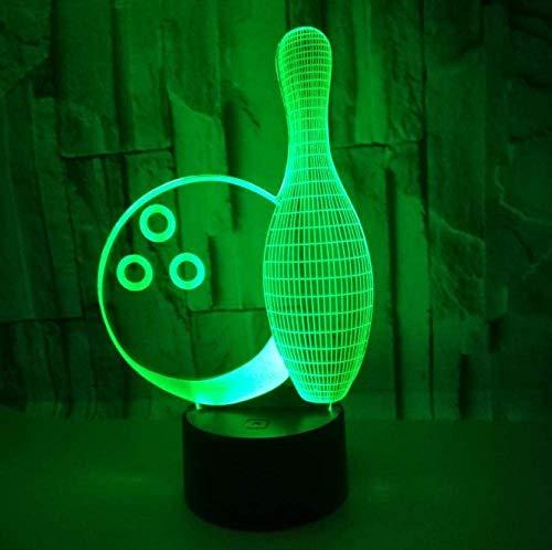 Luz de noche LED 3D Luz de estado de ánimo Forma de bola de boliche 7 tipos de luces deslizantes cambiables de color, interruptor táctil con cable USB, para niñas y niños Decoración de la habitación