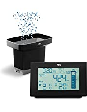ADE WS1907 Digitale regenmeter (weerstation, neerslagmeter voor de tuin met draadloze sensor, thermometer voor binnen en buiten, radioklok), zwart