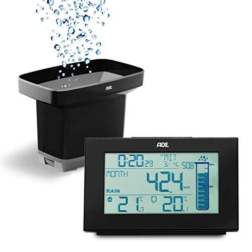 ADE WS1907 Regenmesser (Wetterstation mit Niederschlagsmesser für den Garten mit Funk-Sensor, Thermometer für innen und außen, Digital Funkuhr mit Wecker), schwarz