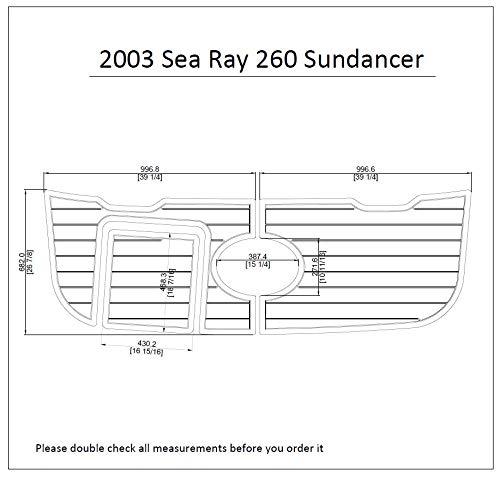 2003 Sea Ray 260 Sundancer Swim Platform Pad 1/4' 6mm Boat EVA Teak Decking (Dark Grey with Black Lines)