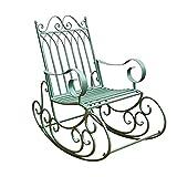 DJLOOKK Retro Schmiedeeisen Gartenstuhl, Pastoral Lounge Chair, 440 Pfund stark tragend, Schaukelstuhl & Schaukelstuhl, Gartenbänke Hocker für Hinterhof Poolside Patio Yard Deck, Grün