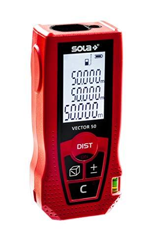 SOLA Vector 50 Laser Entfernungsmesser 50m – Distanzmesser Laser mit 7 Messfunktionen - Laser Messgerät mit integrierter Libelle für horizontale Messungen – IP42