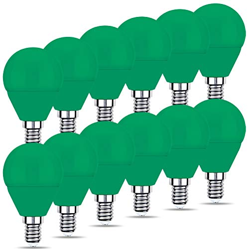 REPSN® 12 x LED G45 E14 Verde Lampadine decorative colorate, Lampadine LED Mini da pallina da golf, Risparmio energetico, per decorazioni interne per interni, Halloween, Natale, Albero