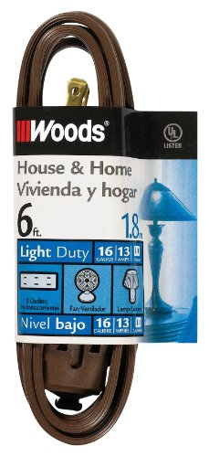 Woods 600 6-Feet Cube Extension Cord with Power Tap, Brown