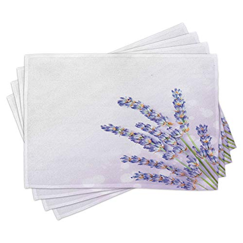 Ambesonne Lavender Place Mats Set of 4, Little Posy of Medicinal Herb Fresh Plant of Purple Flower Spa Aromatheraphy Organic, Washable Fabric Placemats for Dining Room Kitchen Table Decor, Lavender