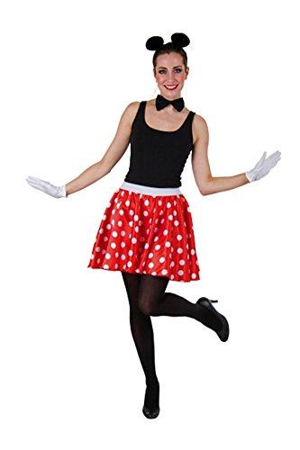 Carnavalkostuum multifunctionele rok, rood met witte stippen 42/44 rood