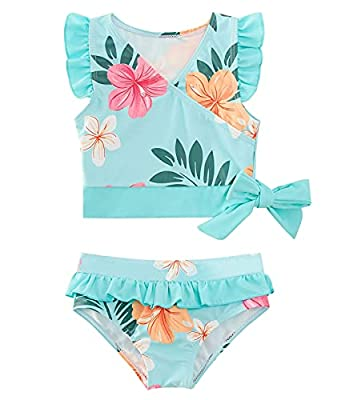 Toddler Girls 2 Piece Swimsuit Floral Bathing Suits Ruffle Beach Bikini Set Hawaii Tropical Swimwear 2t 3t