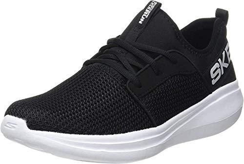 Skechers Jungen GO Run Fast Valor Sneaker, Schwarz (Black Textile/Black Synthetic/White Trim BKW), 36 EU