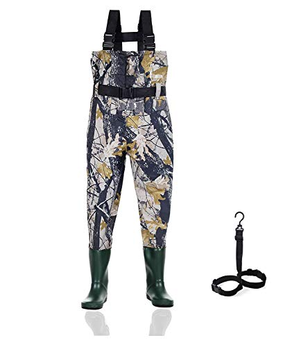 Ouzong Chest Waders for Kids, Lightweight Cleated Nylon and PVC Fishing Bootfoot Chest Waders for Boy and Girl with Boot Hanger, Army Green Waterproof Chest Waders for Children (Camo, 2/3)