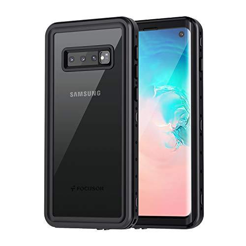 Focusor für Samsung Galaxy S10 Hülle, IP68 Wasserdicht Handyhülle Samsung S10 360 Grad Schutzhülle, Stoßfest Staubdicht und Schneefest Outdoor Panzerhülle mit Eingebautem Displayschutz, Schwarz