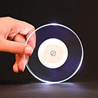 Mei-YY コースター アクリルクリスタル超薄型LEDコースターバーカクテルフラッシュベースバーカップルミナスマットラウンド7彩色カップパッドホリデーデコレーション 収纳 (Color : Round white light)