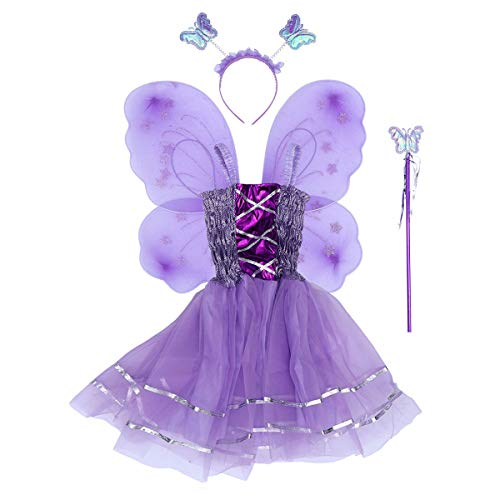 Amosfun Mädchen Schmetterling Kostüm Anzug Flügel Zauberstab Stirnband Rock Ostern Party Tier Cosplay Set 4 Stücke (Violett)