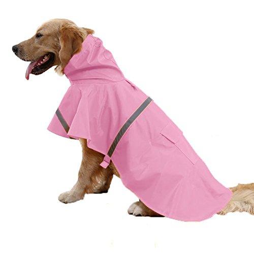 Kismaple Leggero Regolabile Riflettente Impermeabile Giacca per Cane, Impermeabile con Cappuccio per Cani Medio Piccolo, Rosa, M Petto: 52-59cm