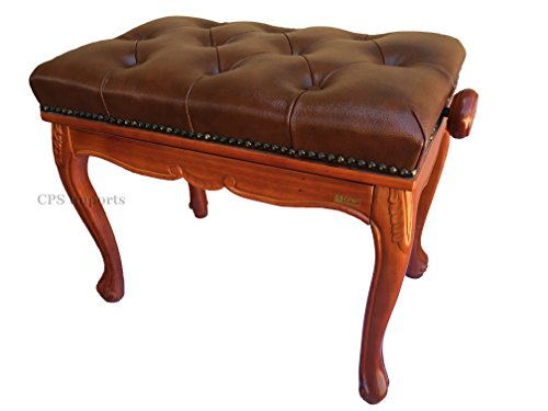 Best Price Genuine Leather Antique Style Adjustable Piano Bench Stool in Brown