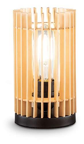 loxomo - Holz Nachttischleuchte im Lamellen-Stil, Ø 12 x 23 cm, Tischleuchte für Schlafzimmer, Wohnzimmer, bis max.60W, Dekoleuchte mit E27 Fassung, IP20, Holz Natur, 1 Stück, ohne Leuchtmittel