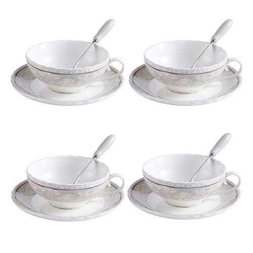Artvigor 4 Juegos de Tazas de Café de Porcelana, 160ml, Juegos de...